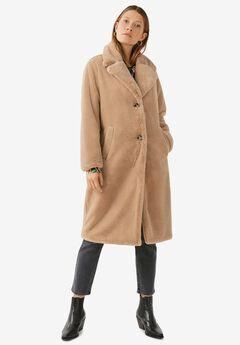 Long Plush Faux Fur Coat,