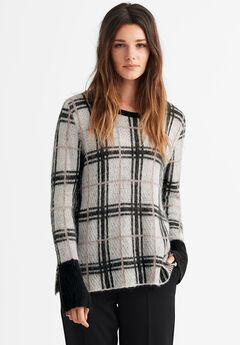 Plaid Boxy Pullover Sweater by ellos®, WHITE BLACK PLAID
