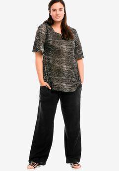 Linen Blend Wide Leg Pants by ellos®, BLACK, hi-res