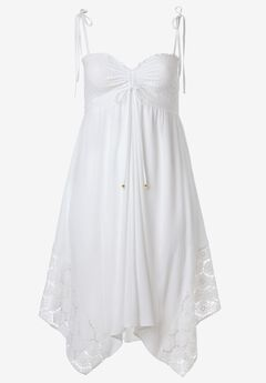 Handkerchief Hem Dress by ellos®, WHITE