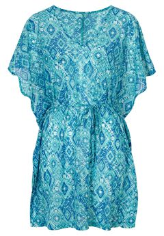 Short Caftan Coverup by Ellos®, BRIGHT COBALT PRINT, hi-res