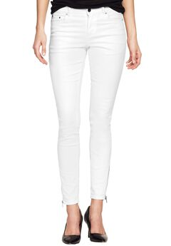 Zip Hem Skinny Jeans by ellos®, WHITE, hi-res