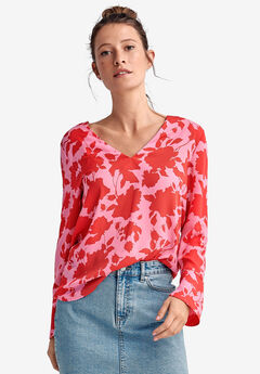 Tie Back Blouse by ellos®, PINK RED PRINT