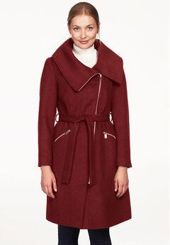 Asymmetrical Zip Belted Wool Blend Coat by ellos®,