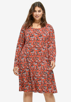 Printed Long Sleeve A-line Dress by ellos®, LIPSTICK RED FLORAL
