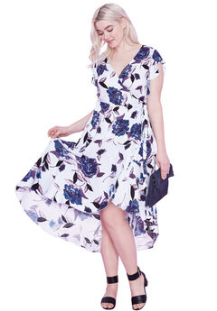 Primrose Wrap dress by ellos®, GLACIER BLUE FLORAL