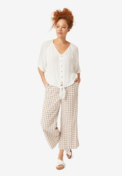Gingham Crop Pants,
