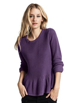 Long Sleeve Peplum Sweater by ellos®,