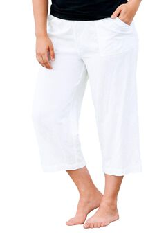 Linen Blend Drawstring Capris by ellos®, WHITE, hi-res