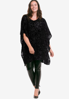 Burnout Velvet Tunic by ellos®, BLACK, hi-res