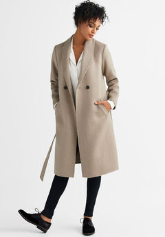 4f8bbaa19ba88 Double-Breasted Wool-Blend Coat by ellos®