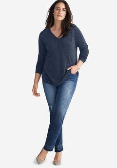 V-Neck Metallic Sweater by ellos®,