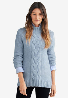 Mock-Neck Pullover by ellos®, DUSTY CORNFLOWER WHITE