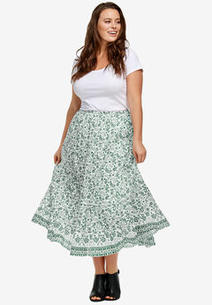 Printed Long Tiered Skirt by ellos®,
