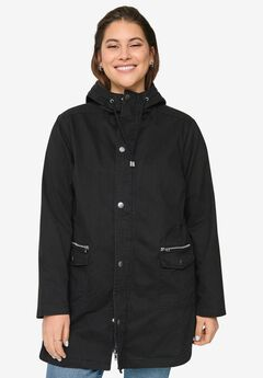 Multi-Pocket Hooded Twill Jacket,