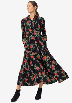 Button Front Maxi Shirtdress,