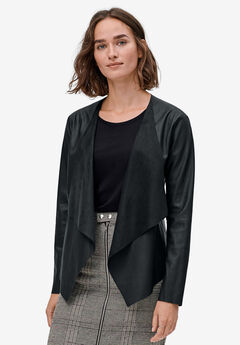Faux Leather Cascade-Front Blazer by ellos®, BLACK