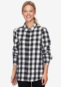 Plaid Flannel Shirt by ellos®, BLACK WHITE PLAID
