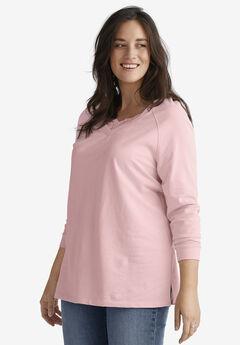 Lace-Trim V-Neck Sweatshirt by ellos®,