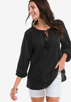 Embroidered Peasant Tunic by Ellos®, BLACK, hi-res