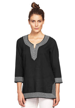 Embroidered Kurta Tunic by ellos®, BLACK