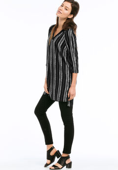 Front-And-Back V-Neck Woven Tunic by ellos®, BLACK WHITE STRIPE, hi-res