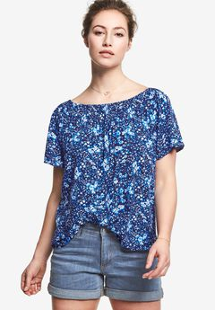 Smocked Neck Blouse by Ellos®, NAVY DITSY FLORAL