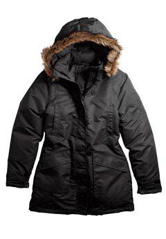 Faux Fur Trim Jacket by ellos®, BLACK, hi-res
