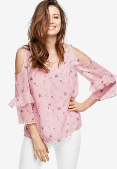 Ruffled Cold-Shoulder Blouse by ellos®, MISTY ROSE FLORAL