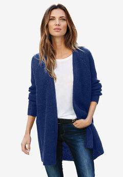 Open Front Waffle Cardigan by ellos®, EVENING BLUE, hi-res