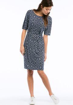 Knit Tie Waist Dress by ellos®, NAVY/WHITE PRINT, hi-res