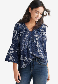 Bell Sleeve Blouse by ellos®, NAVY FLORAL PRINT, hi-res