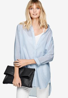 Lightweight Boyfriend Tunic by Ellos®, BLUEBERRY CREAM STRIPE, hi-res