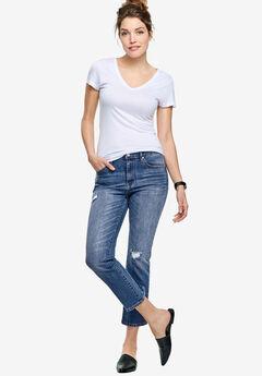 Cropped Slim Jeans by ellos®, MEDIUM SANDED DISTRESSED, hi-res