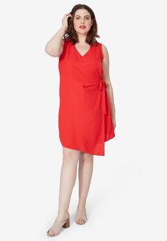 Side-Tie A-Line Dress by ellos®, HOT RED
