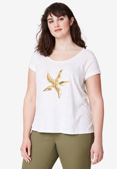 Graphic Sequin Tee by ellos®, WHITE STARFISH