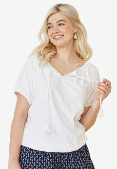 Notch Neck Blouson Tee by Ellos®, WHITE, hi-res