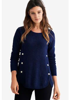 Button Trim Pullover Sweater by ellos®,