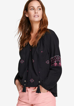 Embroidered Peasant Blouse by ellos®, BLACK, hi-res