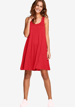 Crossover Back Tank Dress by ellos®, CORAL RED