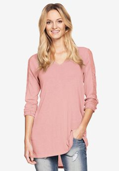 Lace Trim Long Sleeve Tunic by Ellos®, PINK PEACH, hi-res