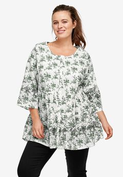 Tiered Floral 3/4 Sleeve Tunic by ellos®, PINE WHITE PRINT, hi-res
