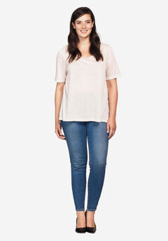 Ankle Zip Skinny Jeans by ellos®, LIGHT STONEWASH