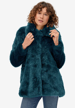 Blue Faux Fur Coat by ellos®, DARK PEACOCK