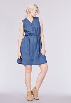 Sleeveless Belted Denim Dress by ellos®, MEDIUM BLUE DENIM, hi-res