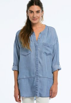 Button Front Patch Pocket Tencel Tunic by ellos®,