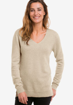 V-Neck Cashmere Pullover Sweater by ellos®, LIGHT BEIGE HEATHER