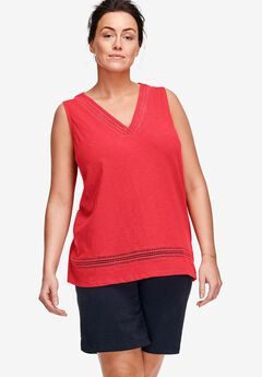 V-Neck Crochet Trim Tank by ellos®,