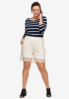 Crochet Lace Shorts by ellos®, IVORY