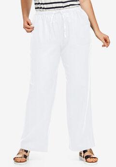 Linen Blend Drawstring Pants by ellos®, WHITE, hi-res